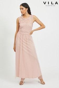 Vila Sleeveless Lace And Tulle Maxi Dress