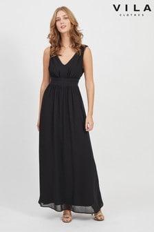 Vila Sleeveless V Neck Tulle Maxi Dress