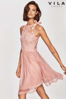 Vila Halter Neck Lace And Tulle Fit And Flare Dress