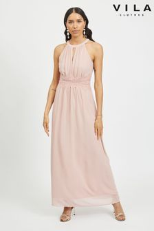 Vila Halter Neck Tulle Maxi Dress
