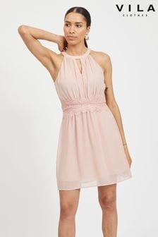 Vila Halter Neck Tulle Fit And Flare Dress