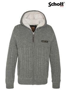 Schott Chunky Knit Sherpa Lined Cardigan