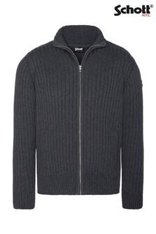 Schott Zip Through Knitted Jumper