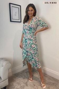 Girl In Mind Esme Wrap Detail Ruched Skirt Midi Dress