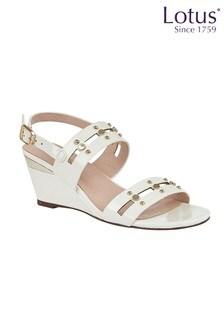 Lotus Footwear Crinkle Patent Wedge Sandals