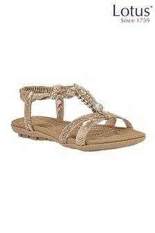 Lotus Footwear Snake-Print Flat Sandals
