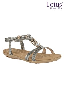 Lotus Footwear Pewter Snake-Print Flat Sandals