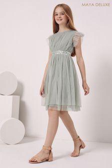 Maya Girl Embellished Waist Tulle Dress