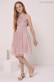 Maya Girl Sleeveless Sequin Tulle Dress