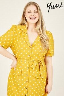 Yumi Curves Spotted Marcie Shirt Dress