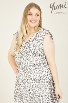 Yumi Curves Leopard Print Thalia Handkerchief Hem Dress