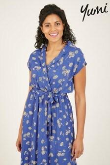 Yumi Trinity Daisy Print Wrap Midi Dress