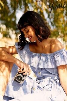 Yumi Button Through Cotton Corlette Bardot Dress