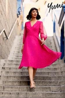 Yumi Dobby Spot Nancy Midi Dress