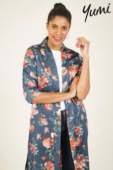 Yumi Floral Satin Longline Kimono