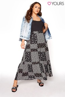 Yours Patchwork Tiered Maxi Skirt