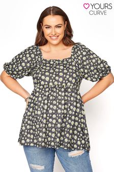 Yours Ditsy Floral Balloon Sleeve Tunic Top