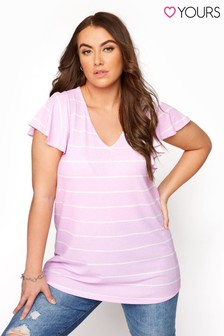 Yours Striped V Neck Top