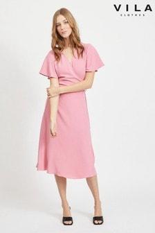 Vila Tie Wrap Short Sleeve Dress
