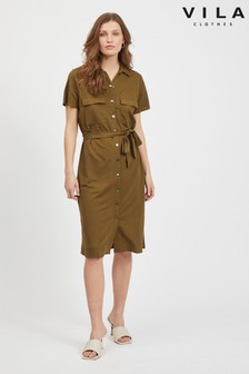 Vila Tie Waist Short Sleeve Utility Shirt Dress