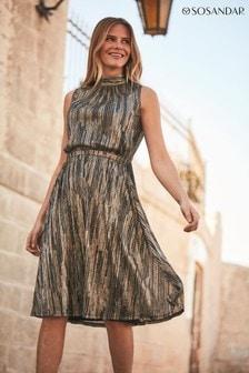 Sosandar Metallic Stripe Halter Neck Dress