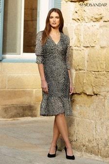 Sosandar Spot Print Ruffle Hem Dress