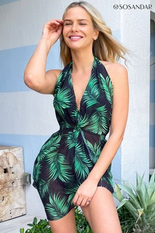 Sosandar Palm Print Twist Front Halter Neck Beach Coverup