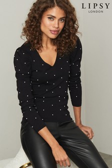 Lipsy Knitted V Neck Puff Sleeve Pearl Jumper