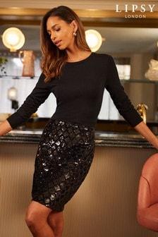 Lipsy 2 in 1 Sequin Skirt Long Sleeve Dress