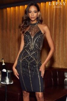 Lipsy Black Sequin Halter Midi Dress