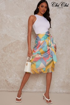 Chi Chi London Chi Chi Abstract Multi Colour Wrap Skirt
