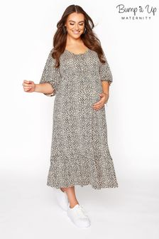Bump It Up Maternity Dalmatian Print Midaxi Dress / Buttons