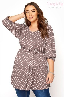 Bump It Up Maternity Polka Dot Belted Top