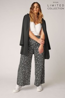 Yours Limited Elastic Waistband Washed Twill Wide Leg Trousers