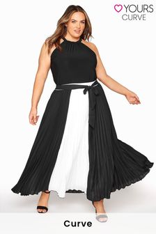 Yours Colour Block Pleated Maxi Skirt