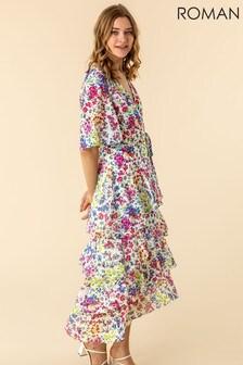 Roman Frill Detail Floral Print Dress