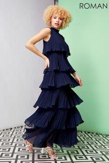 Roman Pleated Layer Frill Maxi Dress