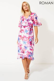 Roman Floral Print Frill Wrap Dress