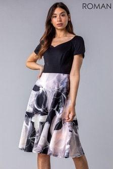 Roman Floral Print Fit & Flare Dress