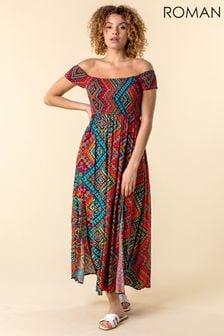 Roman Floral Shirred Bardot Maxi Dress