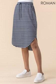 Roman Jersey Stripe Print Skirt