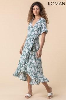 Roman Leaf Print Wrap Midi Dress