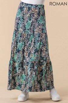 Roman Abstract Snake Print Tiered Skirt
