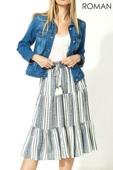 Roman Stripe Print Tiered Skirt