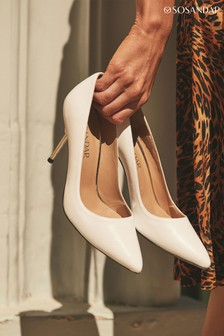 Sosandar Capri Leather Metal Heel Court Shoe