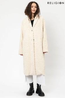 Religion Faux Fur Long Line Crombie Coat