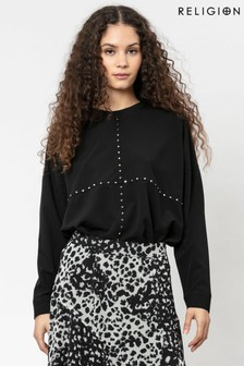 Religion Long Sleeved Woven Top With Stud Detailing On The Front