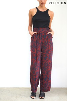 Religion Slouchy Wide Leg Trouser In Slinky Cupro Fabric
