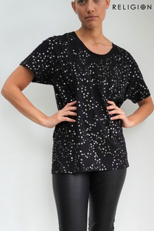 Religion Oversized Hand Beaded Cotton Top With Dropped Shoulder