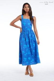 Never Fully Dressed Palm Print Cotton Midi Dress
